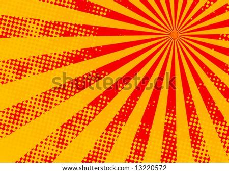 The hot halftone summer sun - vector, illustration - stock vector