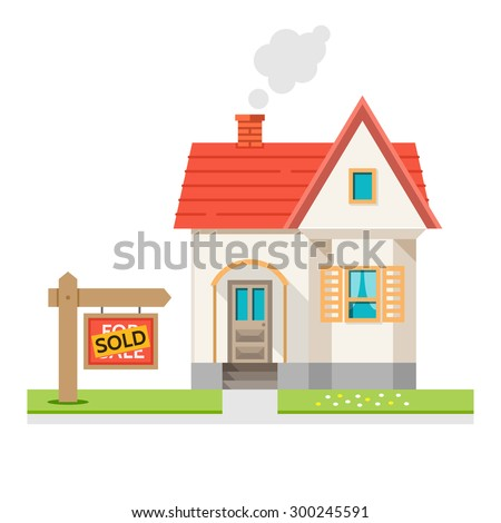 The house is sold. The house and sign in the foreground with the information. Vector illustration in flat style