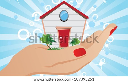 The house on the palm as a symbol of Affordable Housing - stock vector