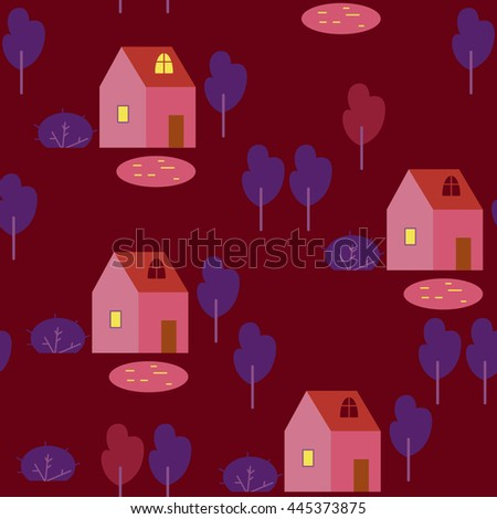 The houses and trees on brown background. Vector seamless pattern with houses, trees and lakes.