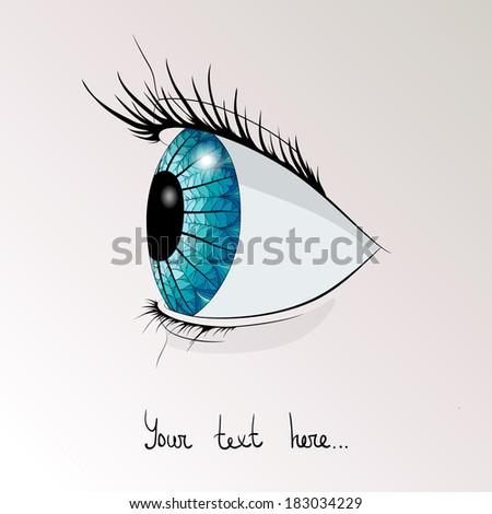 the human blue eye in profile - stock vector