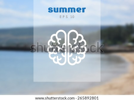 the human brain, web icon on blurred background. vector design - stock vector