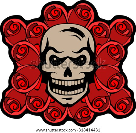 The human skull on a background of roses