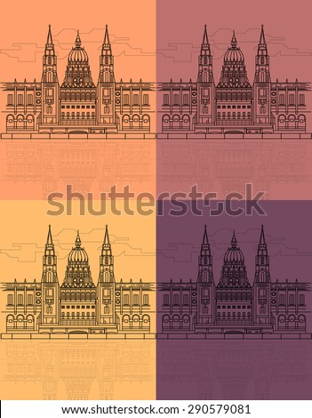 The Hungarian Parliament Building on the Danube River. - stock vector