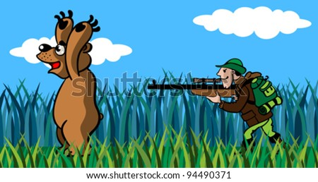 The hunter to aim  from a gun in the big bear, a cartoon. - stock vector
