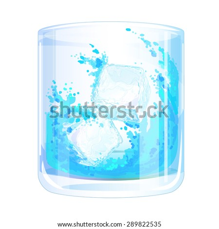 the ice falls into the glass with the liquid