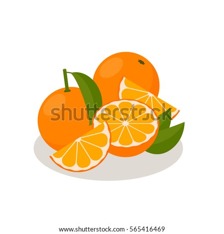The Icon Is Orange. Set with whole fruit and a half, with leaves and without. Vector illustration in a flat style.