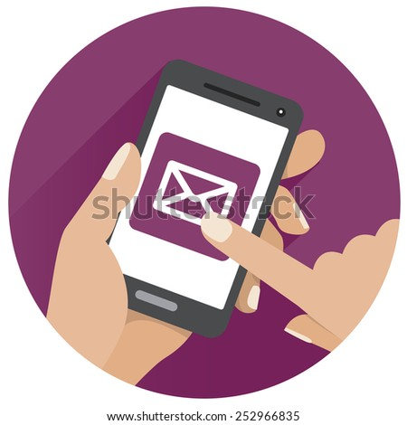 The icon mobile version of the online store is in round shape - stock vector
