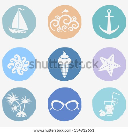 The icons on the theme of the summer sea - stock vector