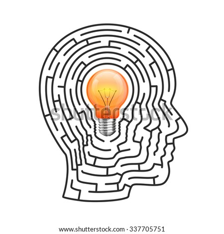 The idea of the labyrinth, Head lamp sign, Vector illustration - stock vector
