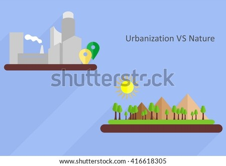 the illustration dedicated to comparison of urbanization and nature. - stock vector