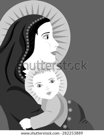 the illustration dedicated to the mother and child. - stock vector