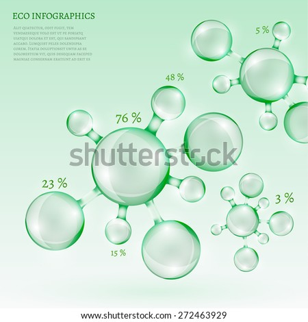The illustration of a beautiful transparent molecule in green tones. Ecology Concept. Vector image. - stock vector