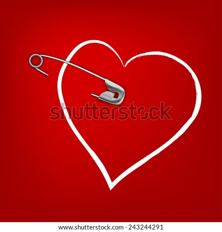 The illustration of a pinned red hearts. Vector image. - stock vector