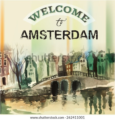 The illustration of  beautiful Amsterdam city hand drawn graphic. Vector image. - stock vector
