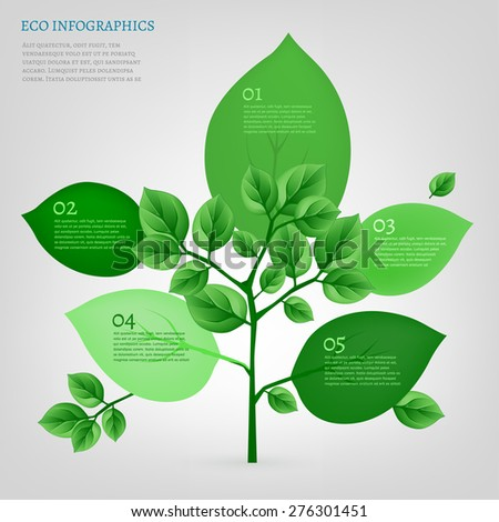 The illustration of beautiful bio infographics with leaves and tree. Ecology concept. Vector image. - stock vector
