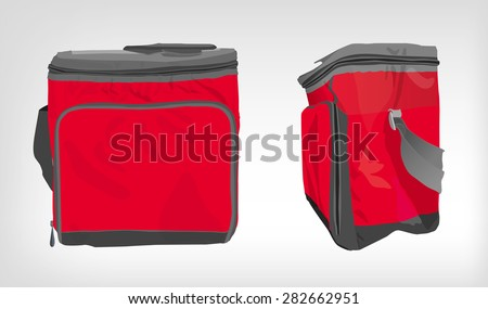 The illustration of  beautiful colorful cooler bag. Ideal template for branding mock ups and souvenirs. Vector image. - stock vector