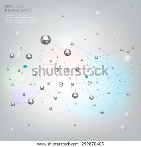 The illustration of beautiful metallic molecular net flying in space. Vector image. Transparent scientific concept in light tones. - stock vector
