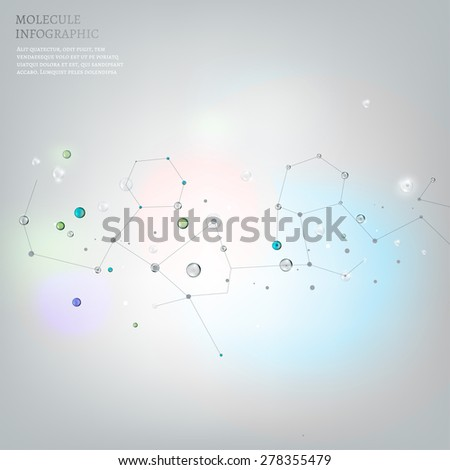 The illustration of beautiful molecular net flying in space. Vector image. Transparent scientific concept in light tones. - stock vector