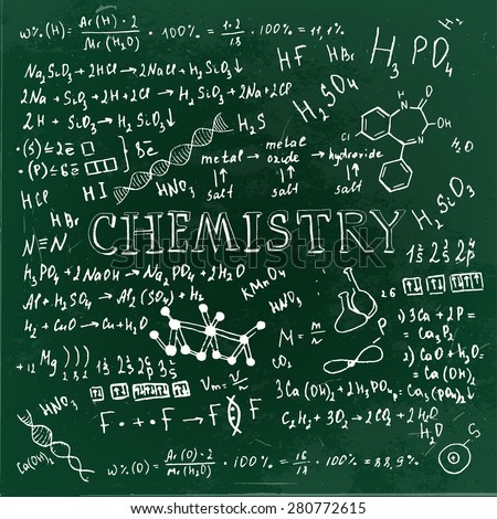 The illustration of beautiful scientific background with white handwriting typography. Chemical class green blackboard. Totally vector fully scalable image. - stock vector