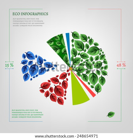 The illustration of bio infographics on a light background. Ecology Concept. - stock vector