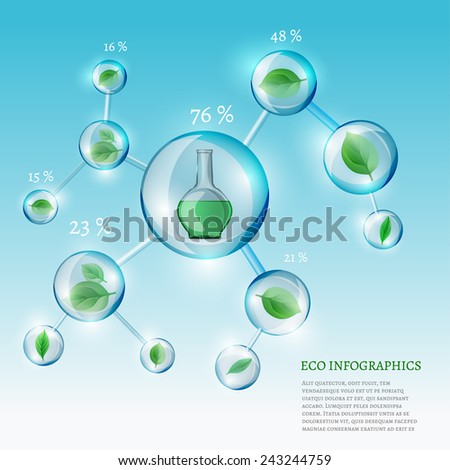 The illustration of bio infographics wirh green leaves in transparent bubbles. Ecology Concept. - stock vector