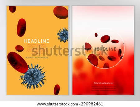 The illustration of bio infographics with blood cells in beautiful realistic style. Medical industry, biotechnology and biochemistry concept. Vector scalable image for scientific medical designs. - stock vector