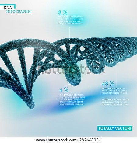 The illustration of bio infographics with DNA in beautiful realistic style. Ecology, biotechnology and biochemistry concept. Totally vector scalable image for scientific designs. - stock vector