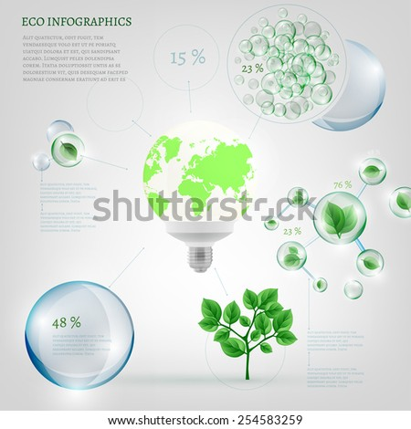 The illustration of bio infographics with energy-saving light and green leaves in transparent bubbles. Ecology set. - stock vector