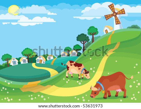 The illustration of country landscape with the village houses and cows grazing in the meadow - stock vector