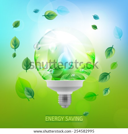 The illustration of ecological green lighting bulb. Vector image.
