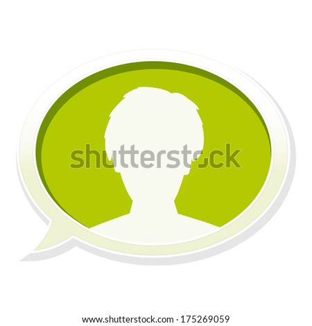 the illustration of man head in speech bubble / the glossy speech bubble with head icon / Speech bubble - stock vector