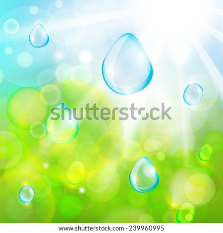 The illustration of sun beans and water drops. Vector image - stock vector