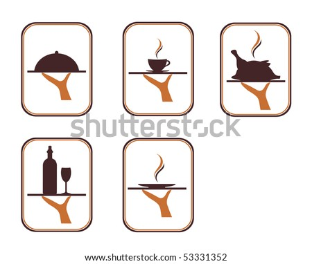 The illustration of the serving food and drink over the white background - stock vector