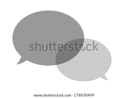 the illustration of two grey overlapping speech bubbles / The pair of speech bubbles / Speech bubbles - stock vector