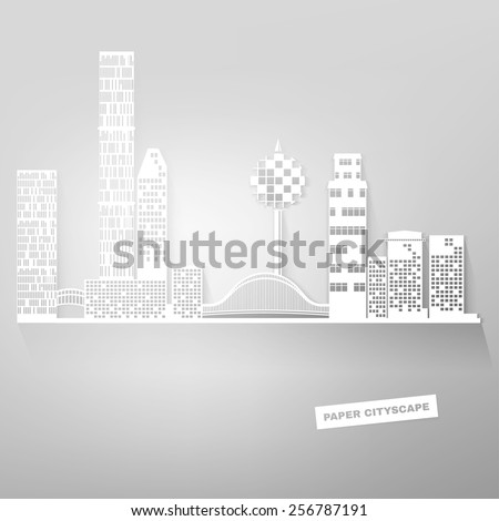The illustration of white paper styled cityscape. Vector image.