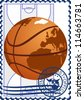 The illustration on a postage stamp. Basketball on the basketball court background. - stock photo