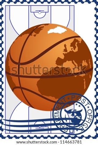 The illustration on a postage stamp. Basketball on the basketball court background.