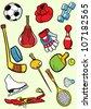 The illustration presented sports equipment in a cartoon style. Drawing done on separate layers. - stock photo