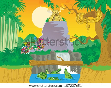 The illustration presents tropical jungle. In the figure a lot of trees,lake with alligators,   religious temple. Two Indians, running through the grass. Illustration done on separate layers.