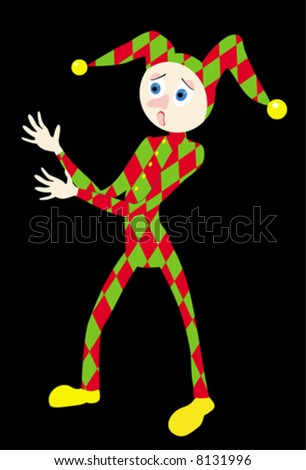 The illustration representing the scared harlequin in red-green clothes. The figure of a toy is isolated on a black background - stock vector