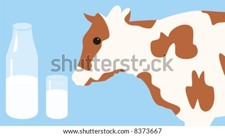 The illustration representing the spotty cow on a blue background near to a bottle of milk and the filled glass
