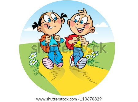 The illustration shows a boy and a girl tourists. They go on the hike. Behind them backpacks. Illustration done in cartoon style. - stock vector