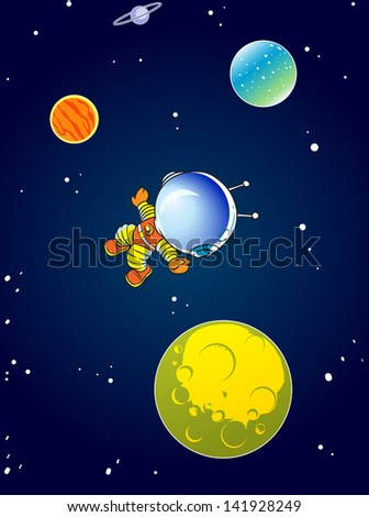 The illustration shows a cartoon astronaut in outer space against the background of stars and planets. On separate layers. - stock vector