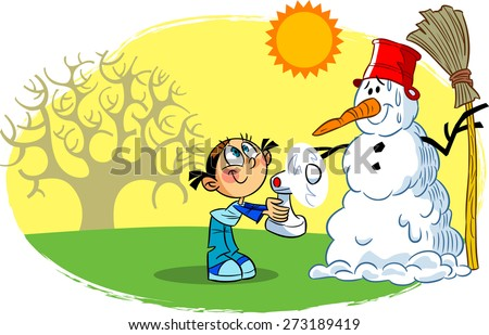 The illustration shows a child, who is trying to refrigerate the fan snowman on a warm spring day  - stock vector