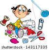 The illustration shows a little girl who sews on the sewing machine dress for the doll. Near it shows the various items for sewing. Illustration done in cartoon style, on separate layers. - stock vector