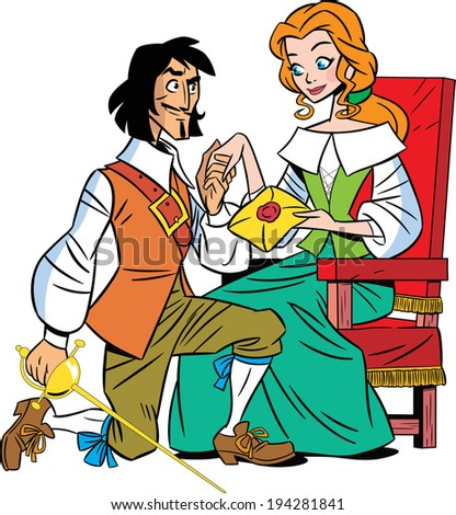 The illustration shows a musketeer and a beautiful girl. She sends a letter musketeer. Illustration done in cartoon style.