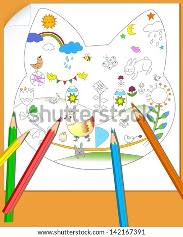 The illustration shows a sheet of paper with the child's picture and a few colored pencils. Illustration done on separate layers. - stock vector