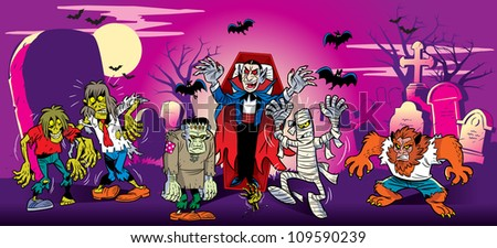 The illustration shows cemetery on the night of Halloween. Emerged from their graves the ghosts, vampires, werewolves. They go against the backdrop of headstones and crosses,  in the sky bats. - stock vector