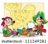 The illustration shows children playing pirates. Boy and girl in pirate clothes are on the background map . Next to them are the chest and attributes. - stock photo